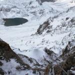 Blick von der Seescharte zur Memminger Hütte